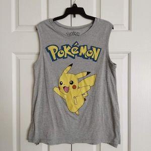 Pokemon Pikachu Large Girls Grey Yellow Tank Top